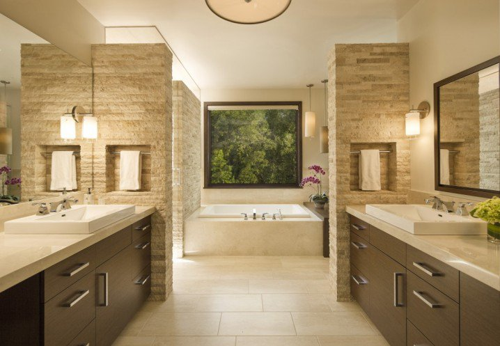 18_contemporary-bathrooms-gallery_bathroom_attractive-contemporary-bathrooms-gallery-inspiring-designs-cream-elegant-japanese-soaking-tub-dark-brown-varnished-wooden-bathroom-vanity_1046x725-718x497