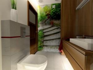 aranżacja łazienki z fototapetą