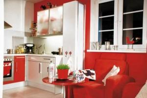 czerwona aranzacja kuchni