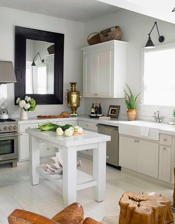 Lustro w kuchni - Beautiful white kitchen designs ...
