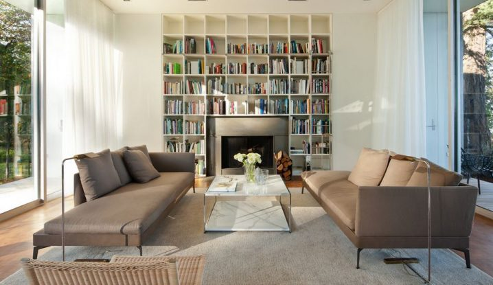 modern-living-room-with-library-and-rectangular-marble-coffee-table-718x415