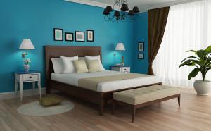 niebieski wystrój sypialni