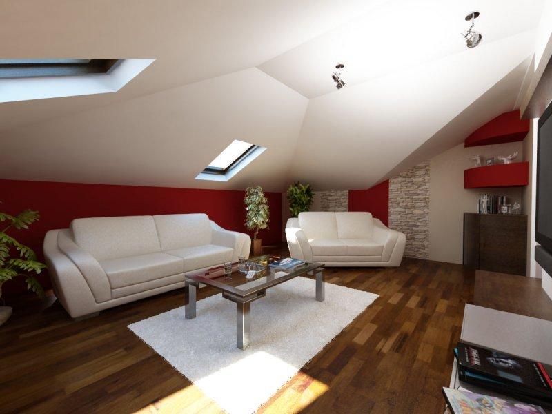 poddasze • Modne Wnętrza -> Salon Polączony Z Kuchnią Na Poddaszu