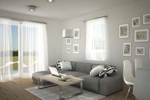 sofa w szarym salonie