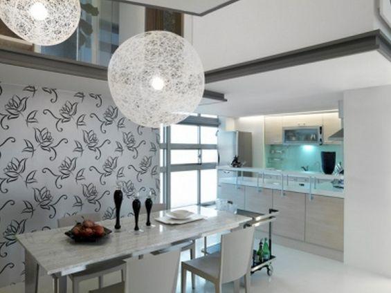Szkło i tapeta w kuchni, Kuchnia, Aranżacja -> Tapeta W Kuchnia