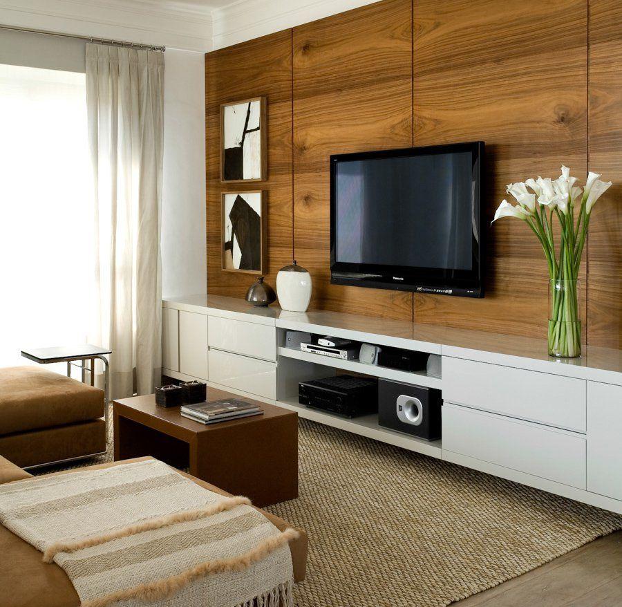 Połączenie Płaskiego Tv I Drewnianej ściany Modne Wnętrza