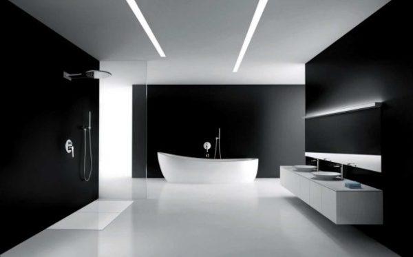 łazienka w czarnych kolorach